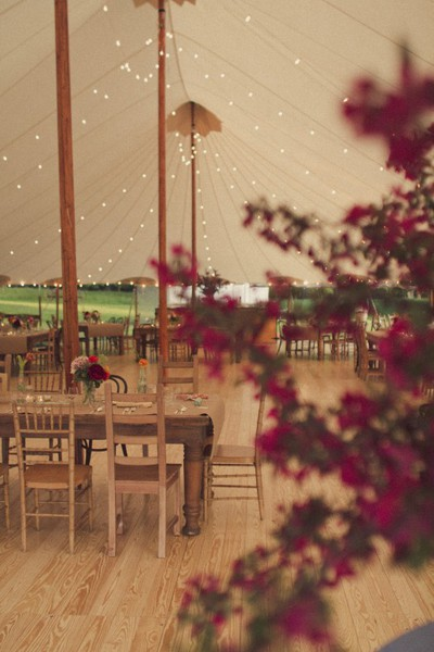 cafe lights white tent