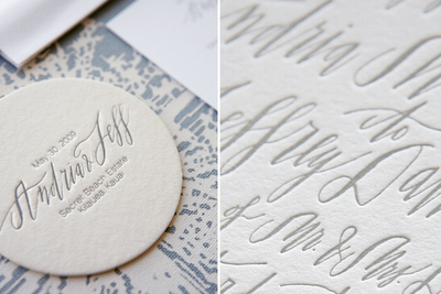 calligraphy coaster wedding favors