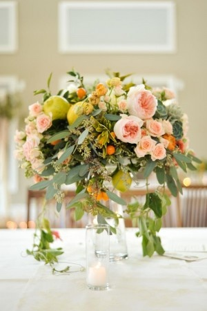 cascading flower wedding reception centerpiece