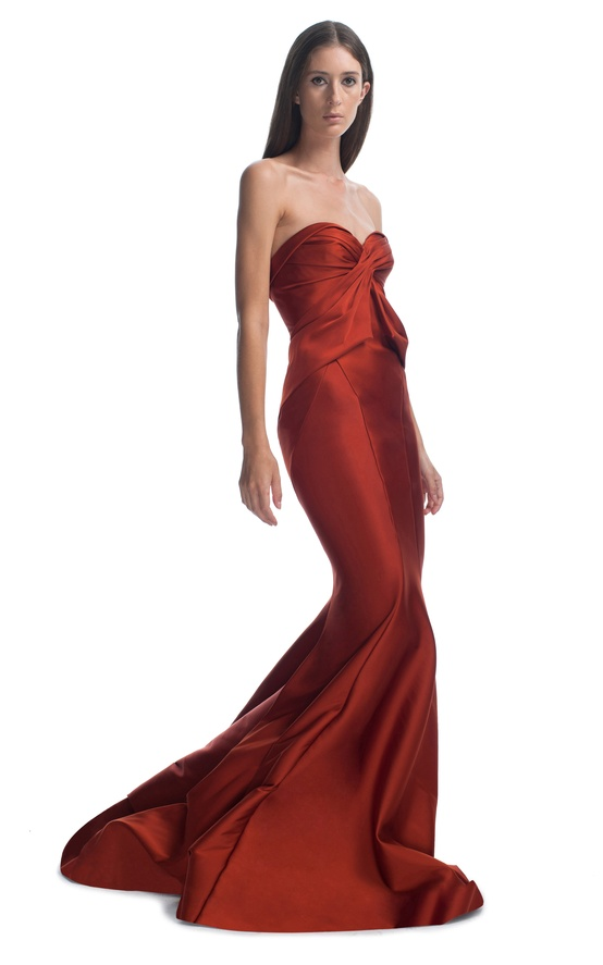 red sweetheart evening gown