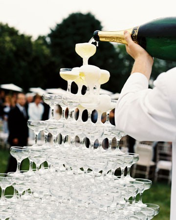 champagne stacked glasses