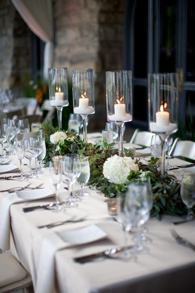 clear candle votive reception tbales