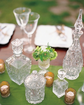 clear glass bottle centerpiece
