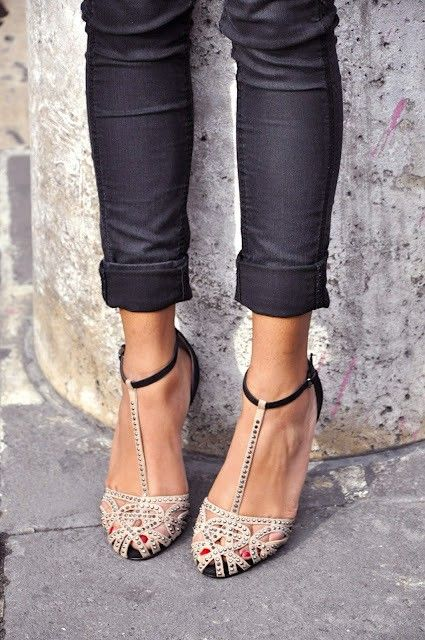 cream black studded heels