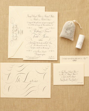 cream brown invitation suite