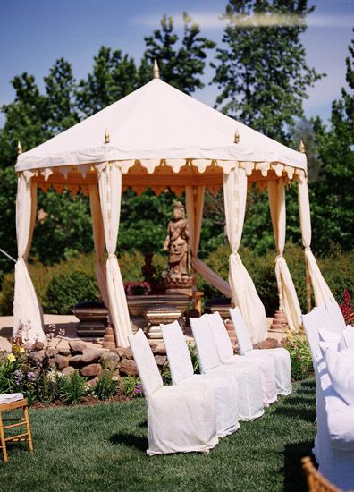 cream canopy wedding ceremony decorations