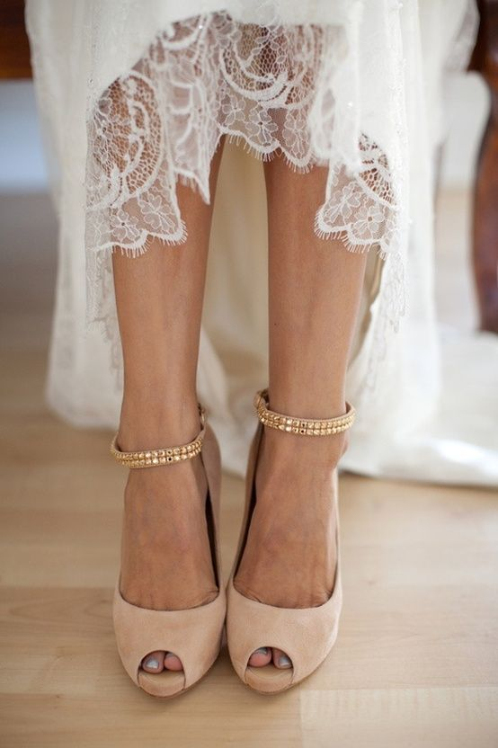 cream gold wedding heels