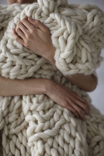 cream knit cozy blanket
