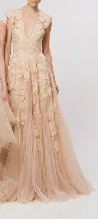 cream peach floral gown