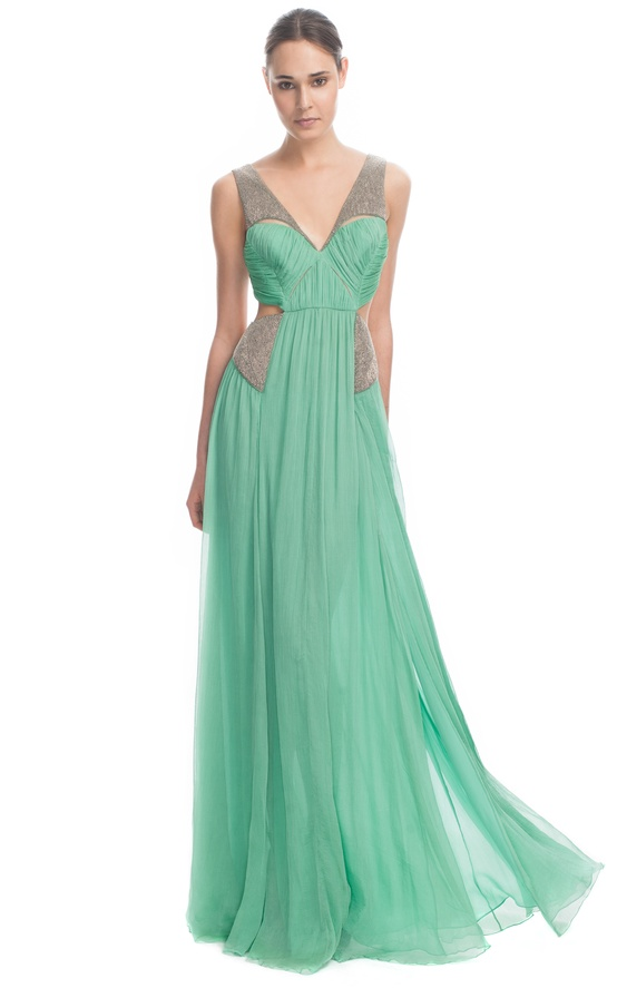 green elegant gown