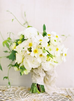 dainty wrapped white bouquet
