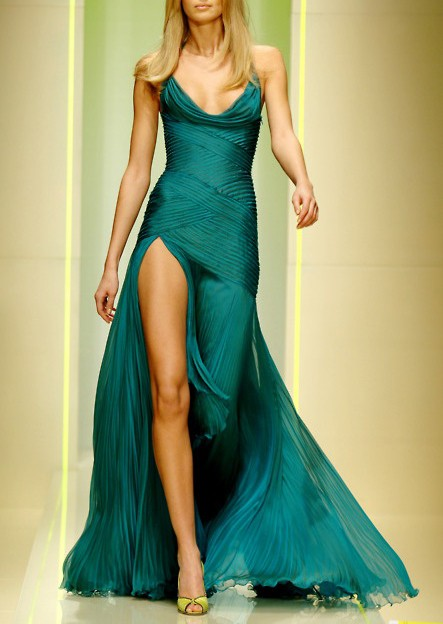 dark green emerald dress