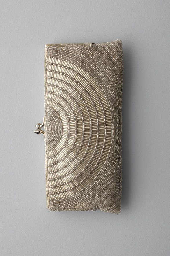 deco beaded clutch silver