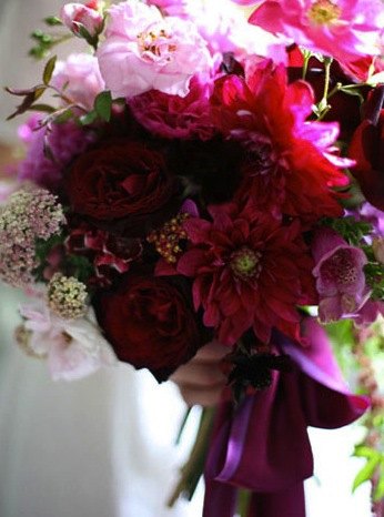 deep red flowers bouquet amy merrick