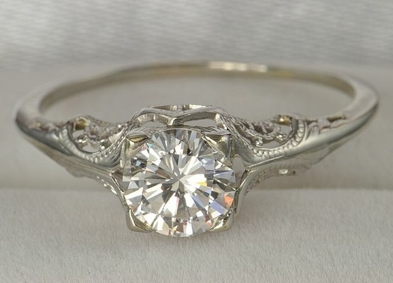 delicate antique white gold ring
