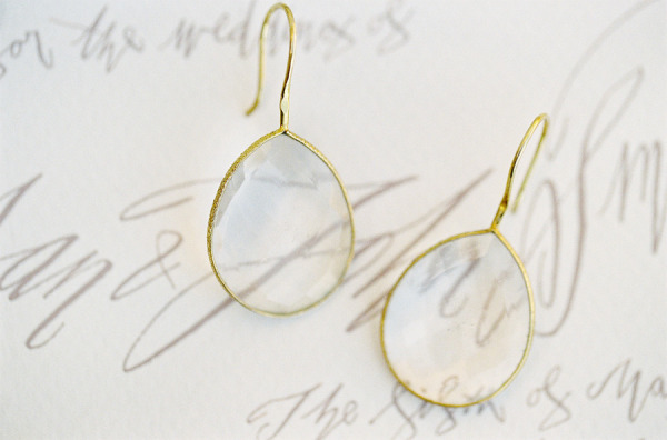 delicate gold earrings wedding