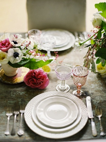 delicate rose colored glasses place setting