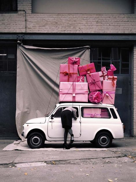 delivering presents pink
