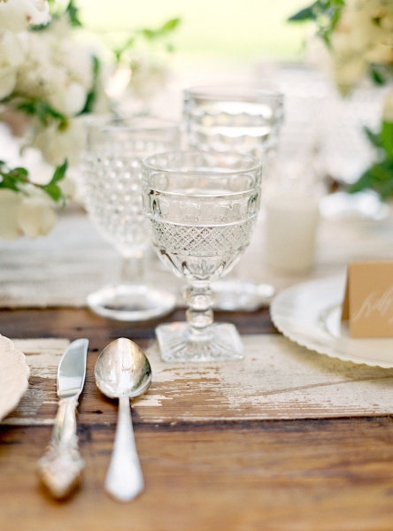detailed white glass wedding china