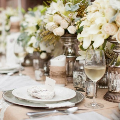 elegant garden reception tables