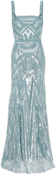 strappy full beaded gown