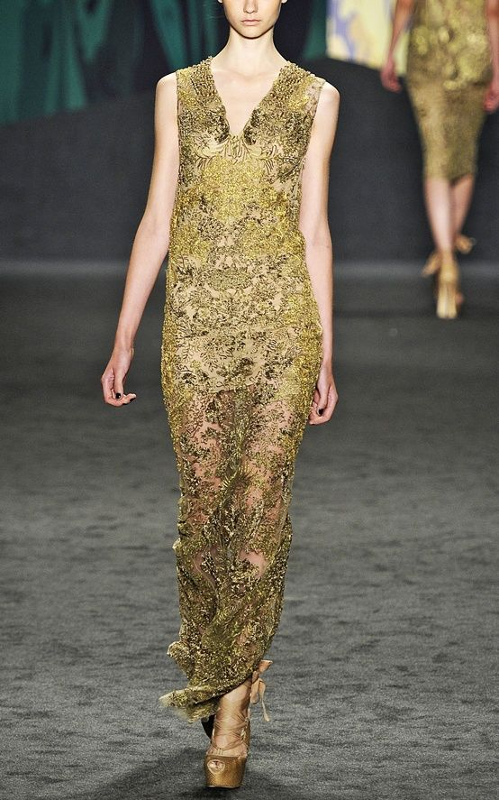 vera wang gold dress