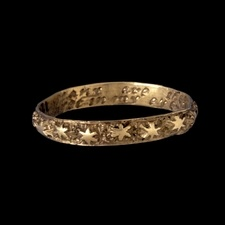engraved star gold wedding ring