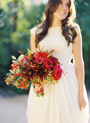 fall bridal bouquet red magenta