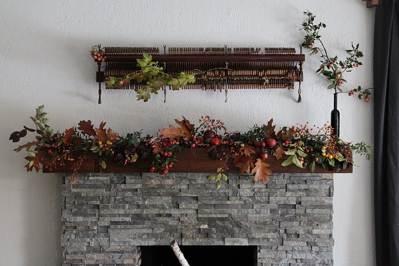 fall flower garland mantle