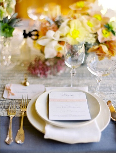 fall wedding place setting brown white