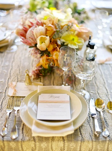 fall wedding place setting brown