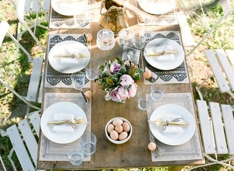 farm table egg centerpiece