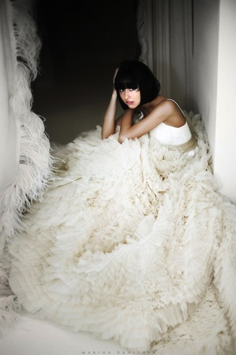 feather white gown