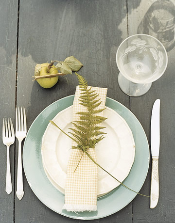 fern napkin reception tables