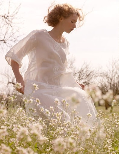 field flowers white dress