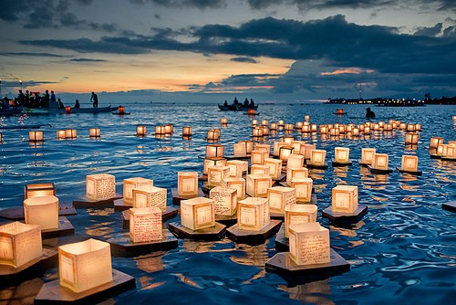 floating lights ocean