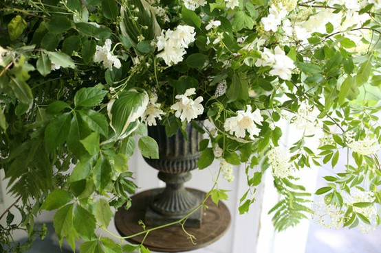 flower centerpiece white green