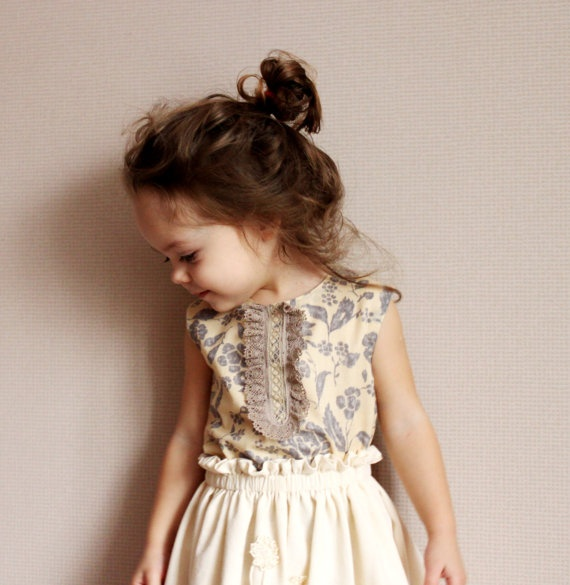 flower girl dress purple cream
