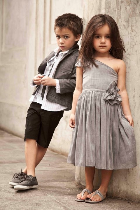 flower girl gray dress