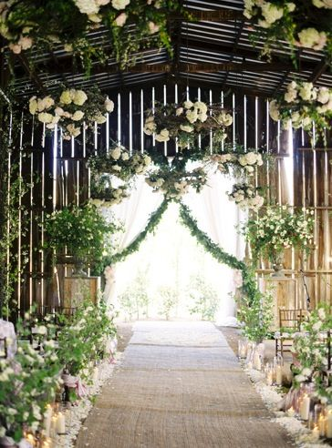 flowering greenery barn yard wedding
