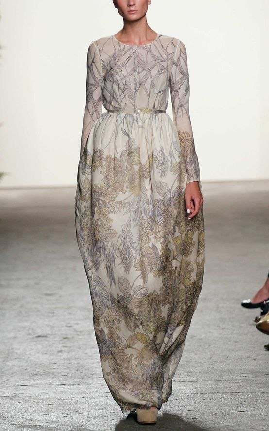 foliage print evening gown