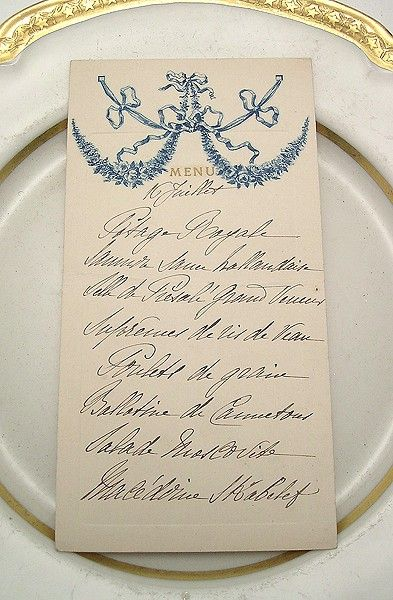 formal menu calligraphy