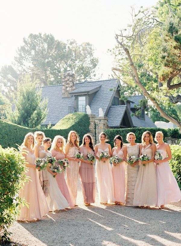 formal pink cream bridesmaid dress
