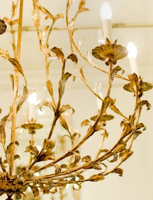 gold chandelier white lights