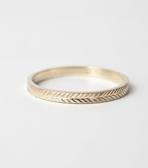 Gold Etched Wedding Band