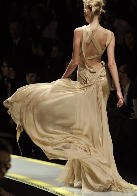 gold flowy gown