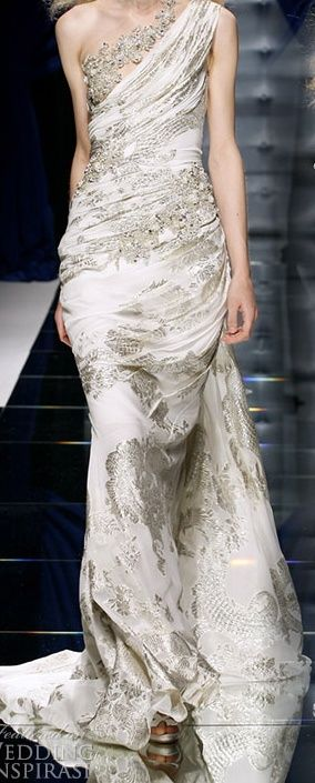gold ivory floral gown