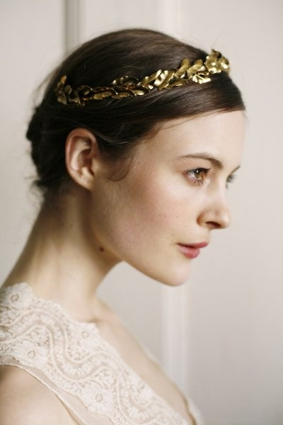 gold leaf halo wedding hair