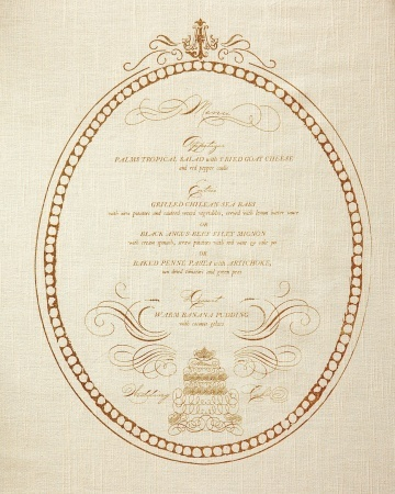 gold linen invitation