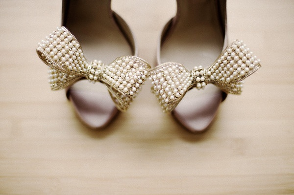 Gold Pearl Bow Wedding Shoes